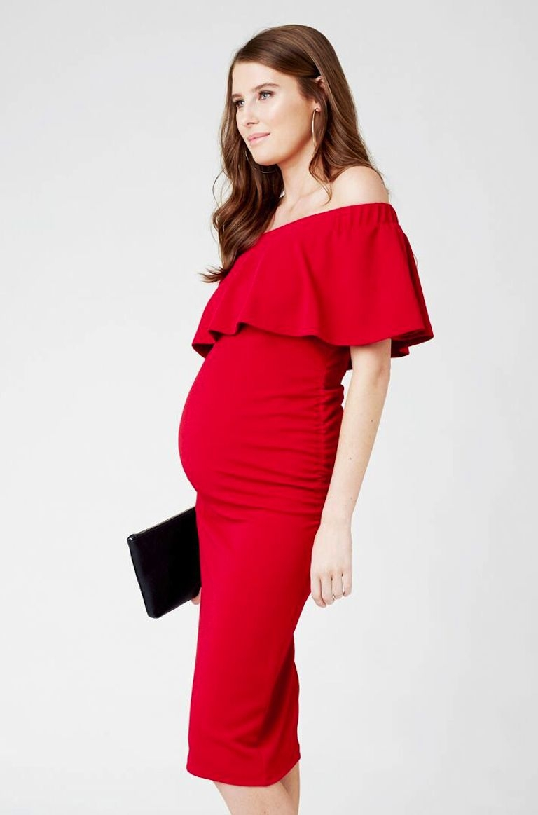 Ripe Red Soiree Off Shoulder Dress