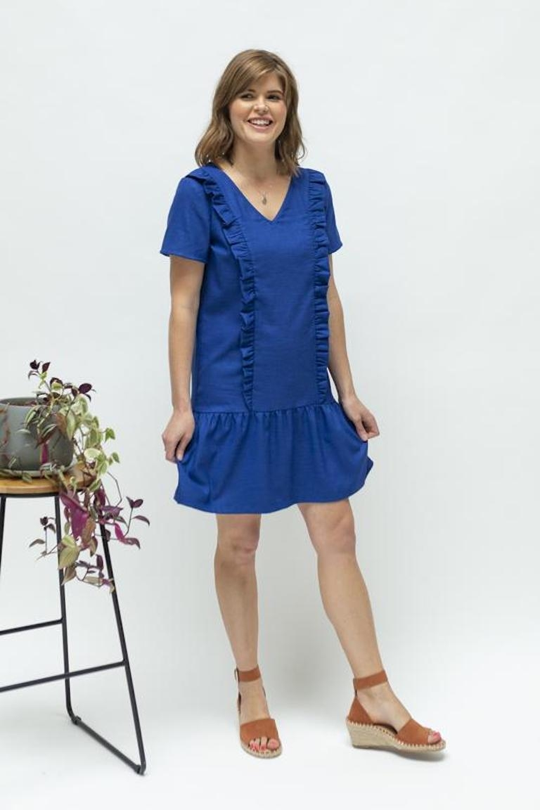 Close to the Heart Cobalt Blue Ruffle Feeding Dress