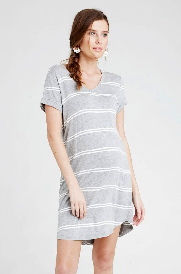 Ripe Relaxed Silver Stripe T-Shirt Dress