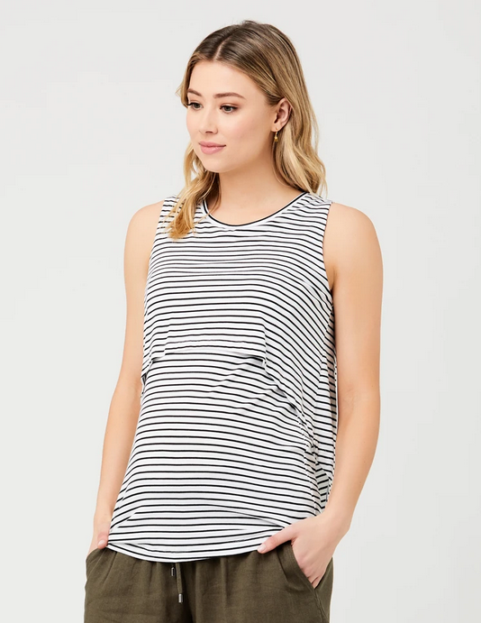 Ripe White/Black Stripe Swing Back Nursing Tank