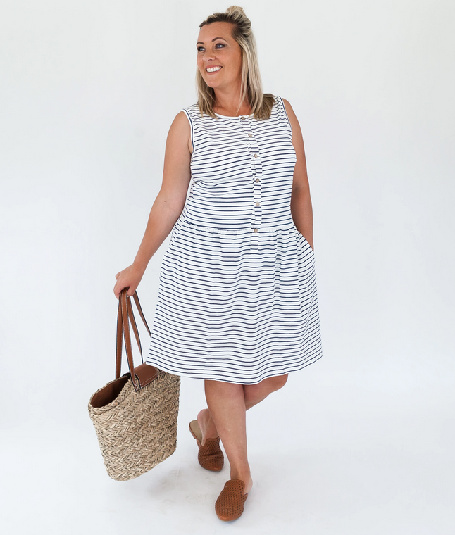 Milkbar White/Navy Stripe Billie Feeding Dress