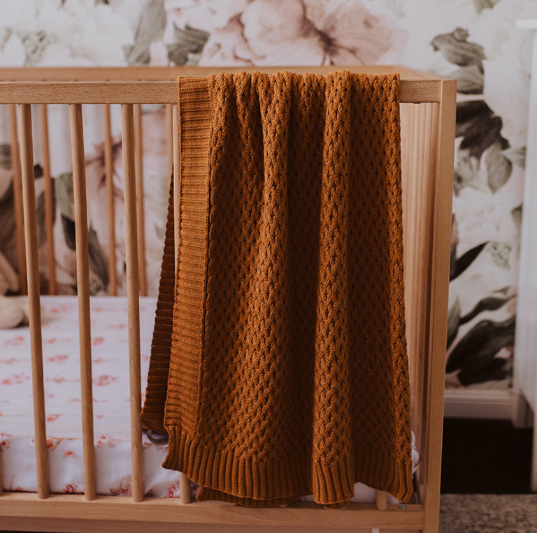 Snuggle Hunny Bronze Knitted Baby Blanket