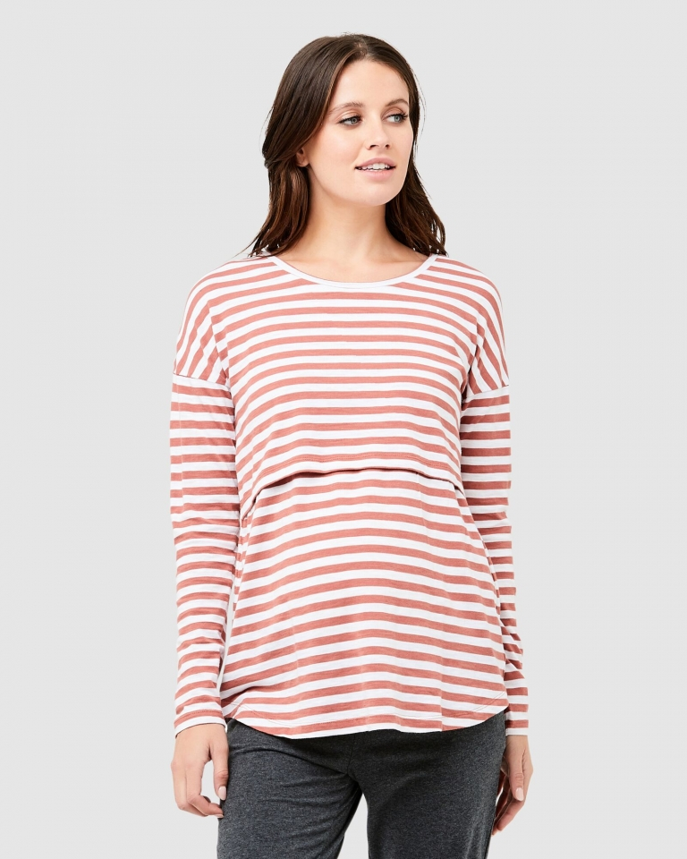 Ripe Terracotta/White Lionel Long Sleeve Nursing Tee