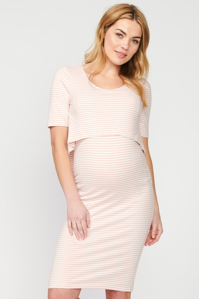 Pea in a Pod Pink/White Riley Nursing Dress