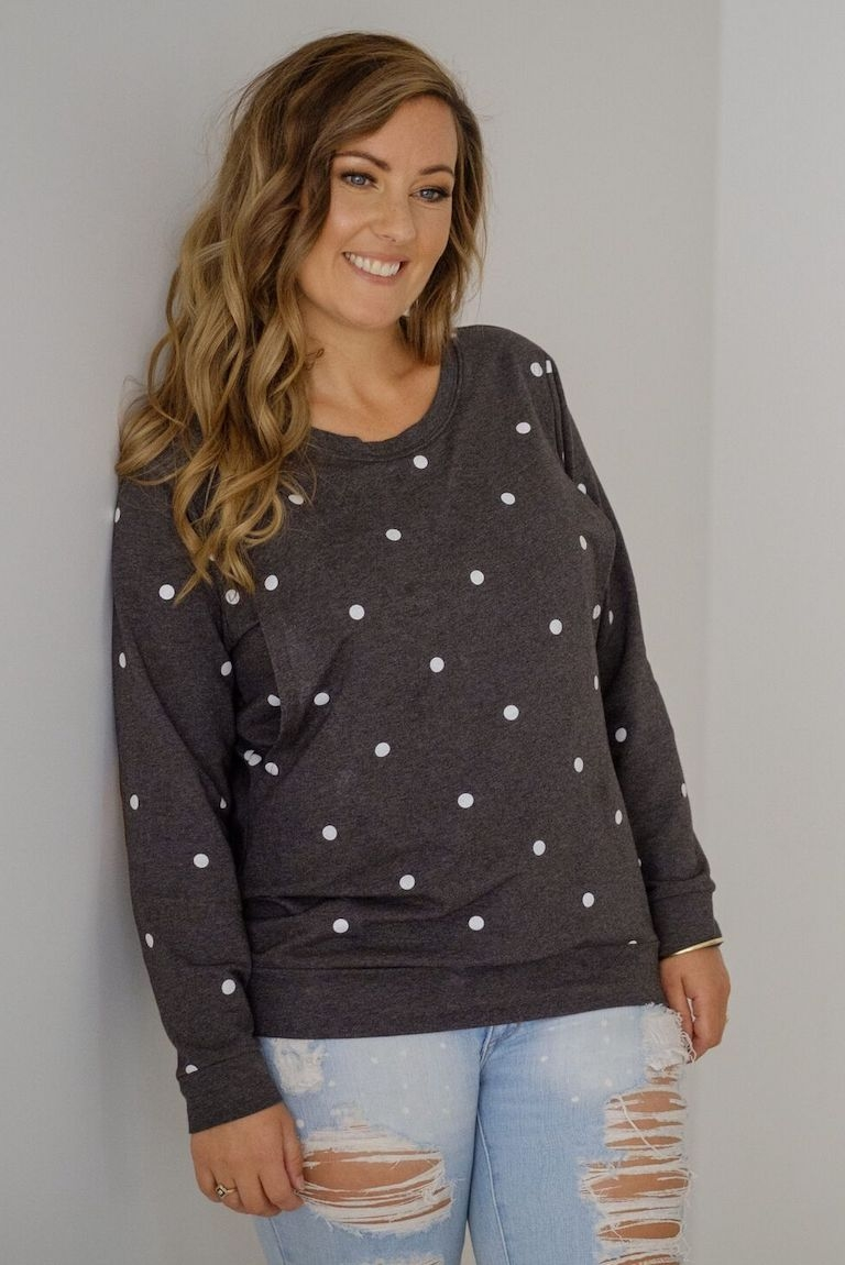 Milkbar Charcoal Polka Dot Feeding Sweater