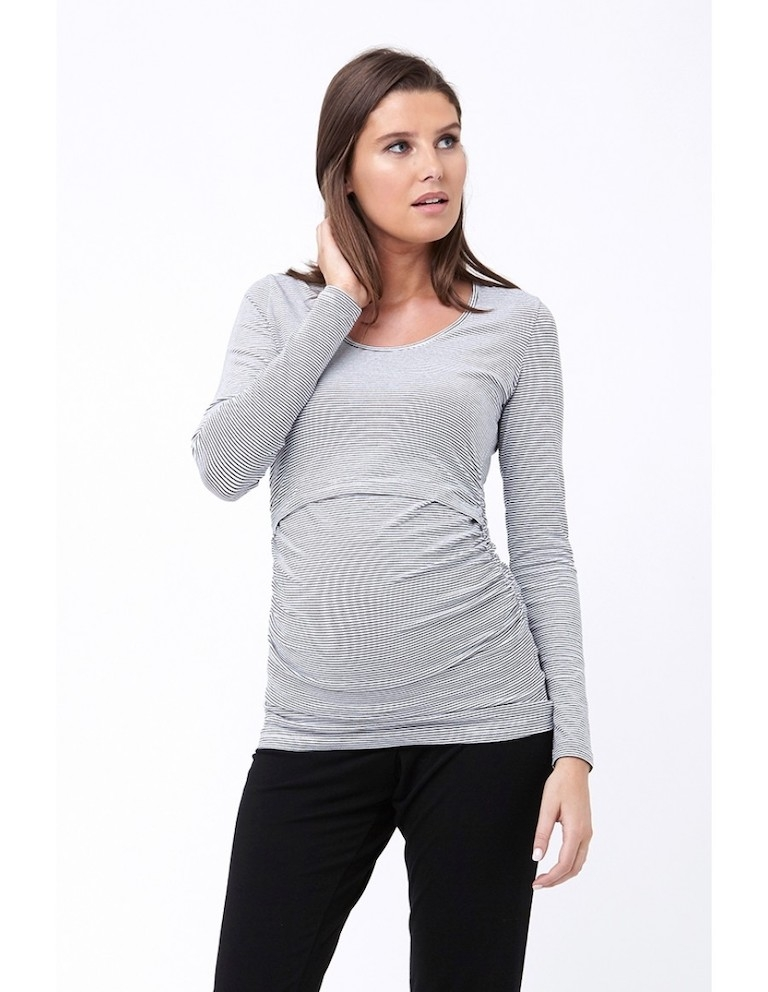 Ripe Black/White Mini Stripe Feeding Top