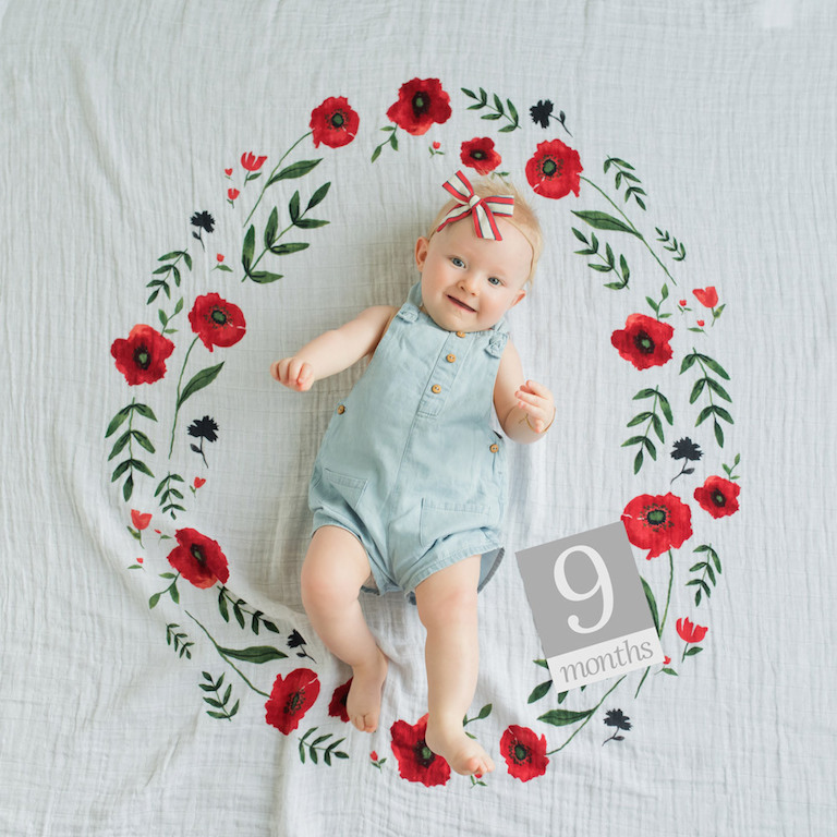Little Unicorn Summer Poppy Photo Blanket and Milestone Set
