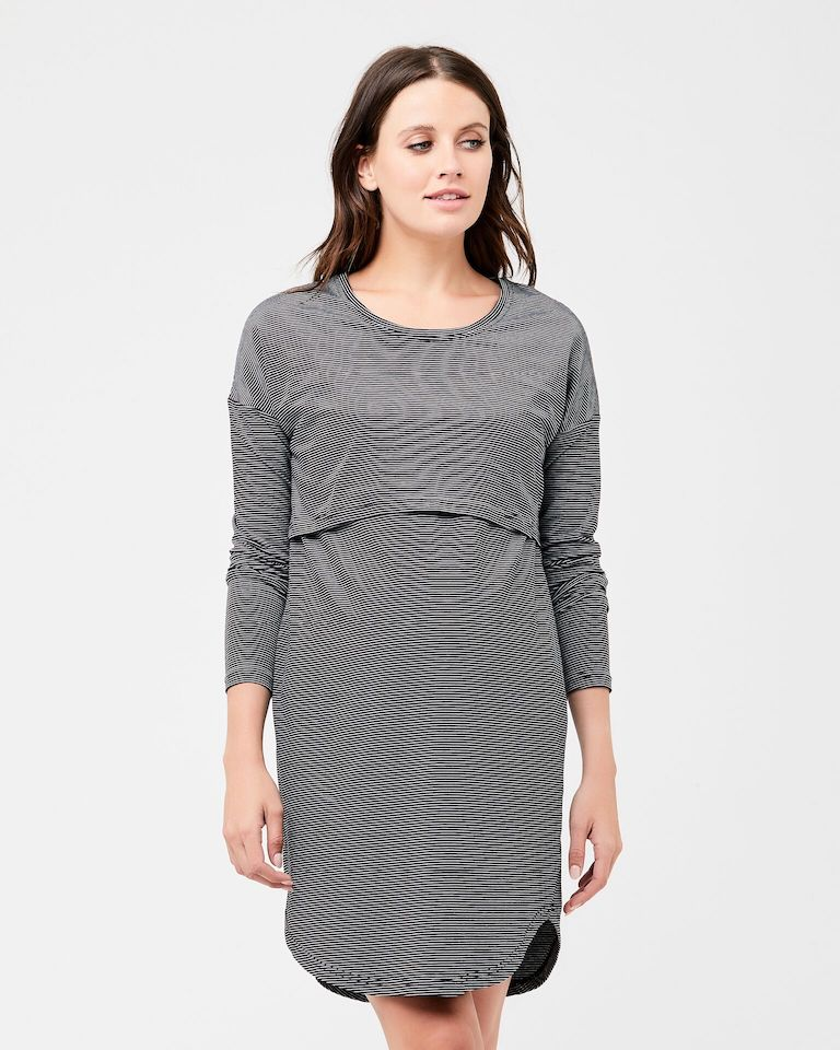 Ripe Black/White Long Sleeve Nursing Nightie
