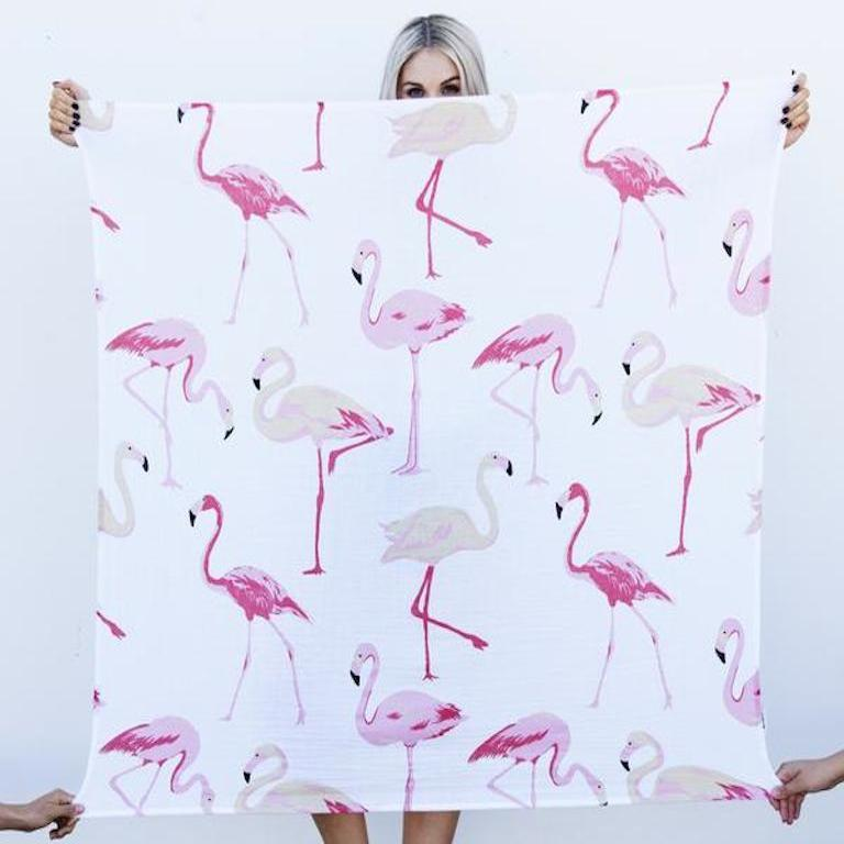 Bondi Beach Baby Flamingo 100% Organic Cotton Swaddle