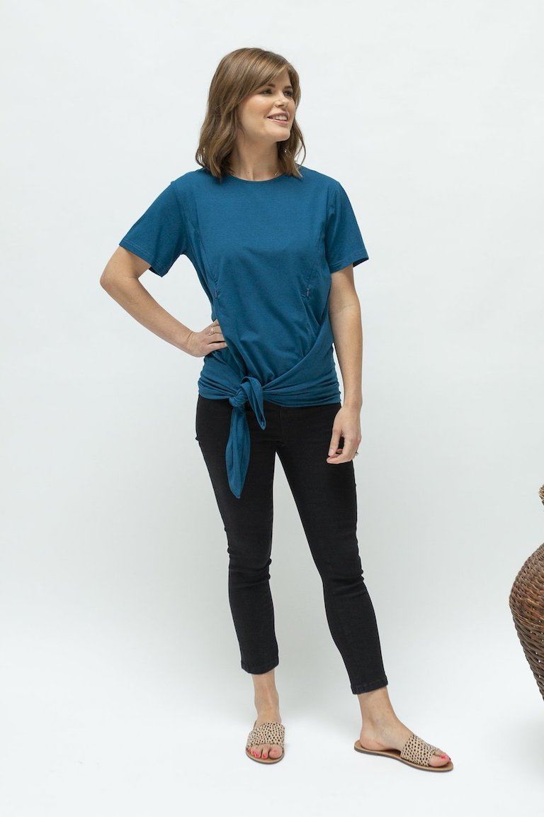 Close to the Heart Peacock Blue Breastfeeding Tie Tee