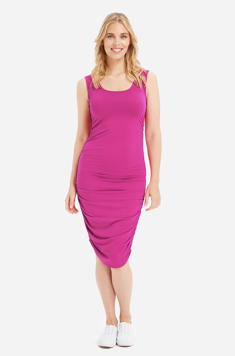 Bamboo Body Berry Ruched Tank Dress