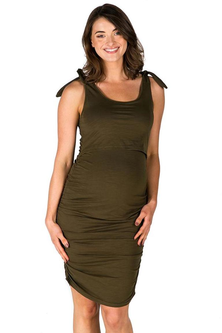 Maive & Bo Khaki Lyla Bamboo Feeding Tank Dress