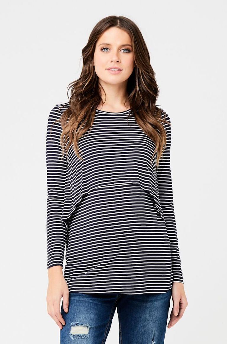 Ripe Indigo/White Stripe Swing Back Feeding Top