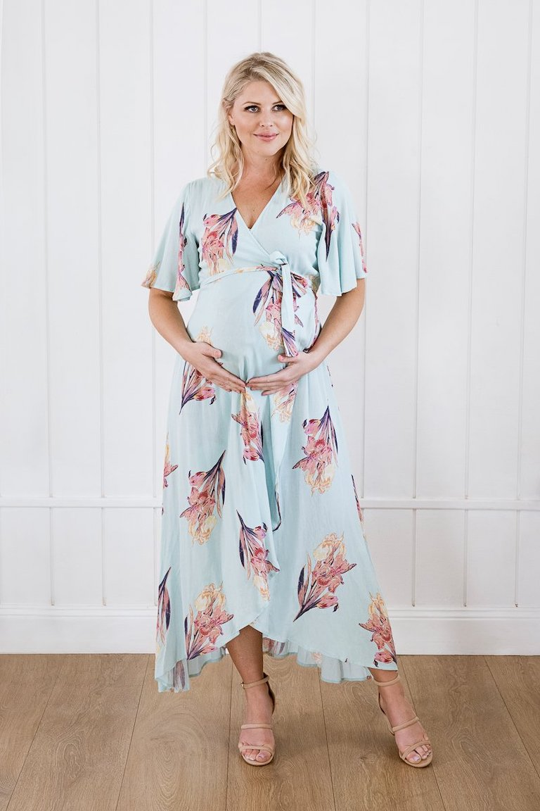 Maive & Bo Mint Harlow Wrap Dress
