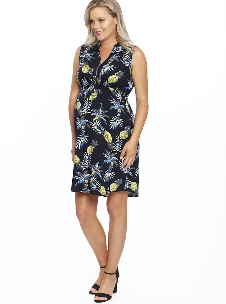 Angel Tropical Zip Front Maternity & Nursing Dress