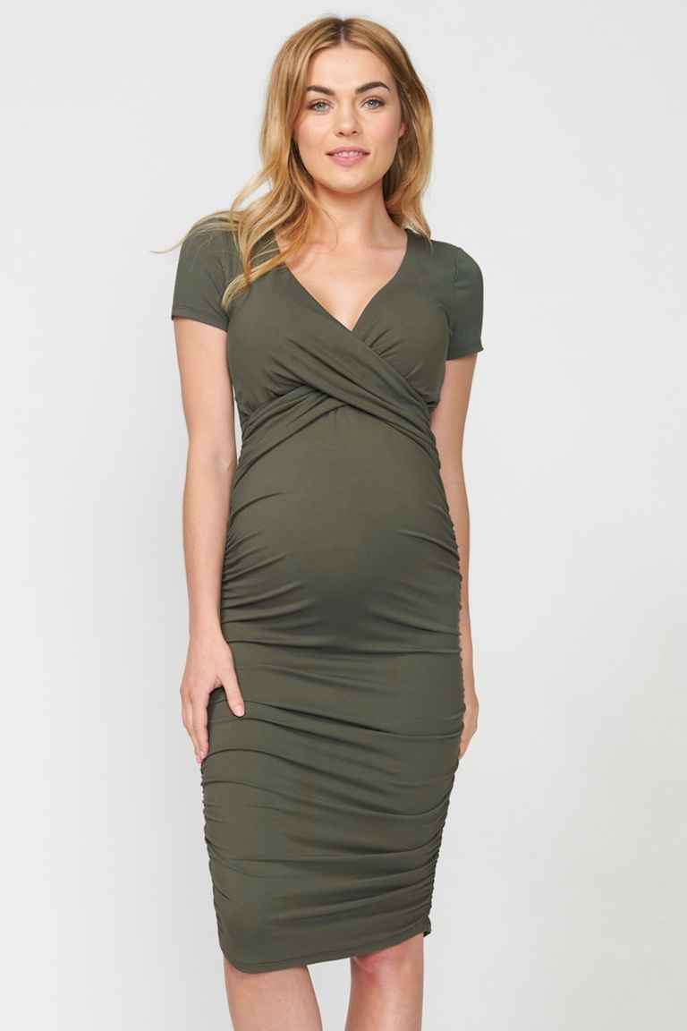Pea in a Pod Khaki Bailey Crossover Nursing Dress