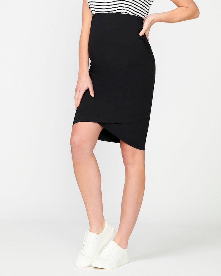 Pea in a Pod Black Harley Cross Hem Skirt