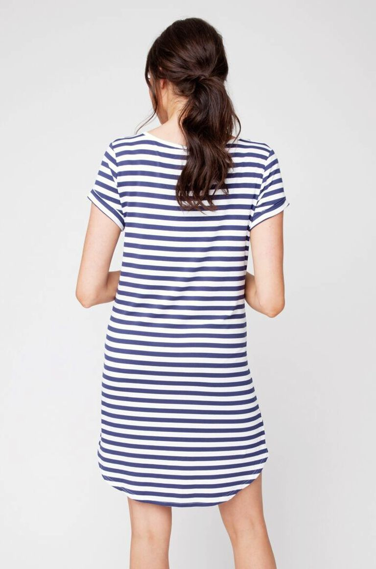 Ripe Relaxed Indigo Stripe T Shirt Dress