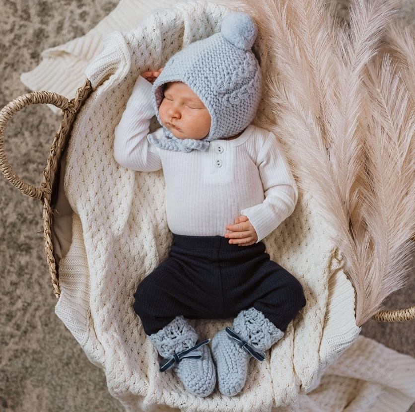 Snuggle Hunny Blue Merino Wool Baby Bonnet & Booties Set