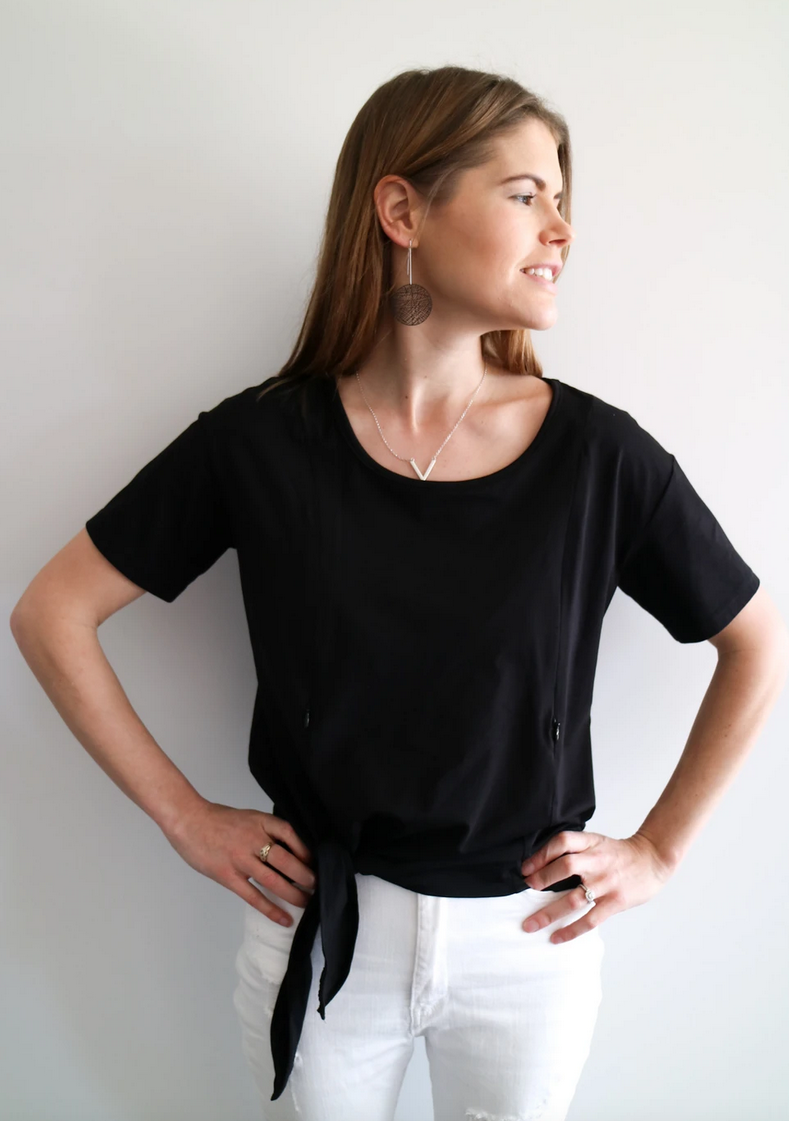 Close to the Heart Black Breastfeeding Tie Top