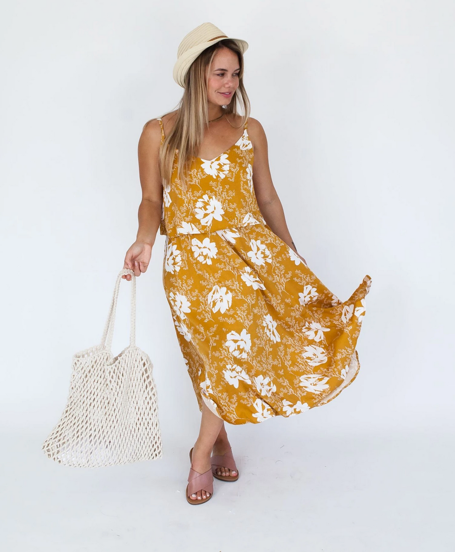 Milkbar Mustard Floral Ruby Midi Feeding Dress