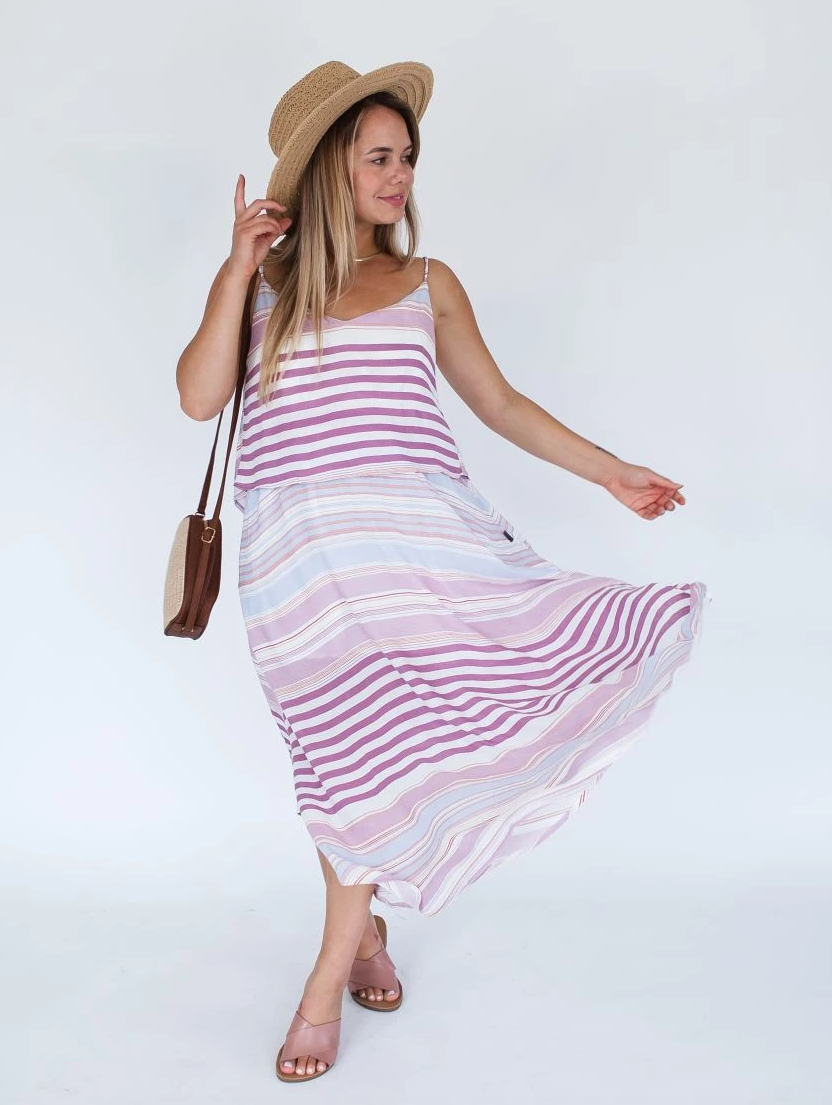 Milkbar Sunset Stripe Ruby Maxi Feeding Dress