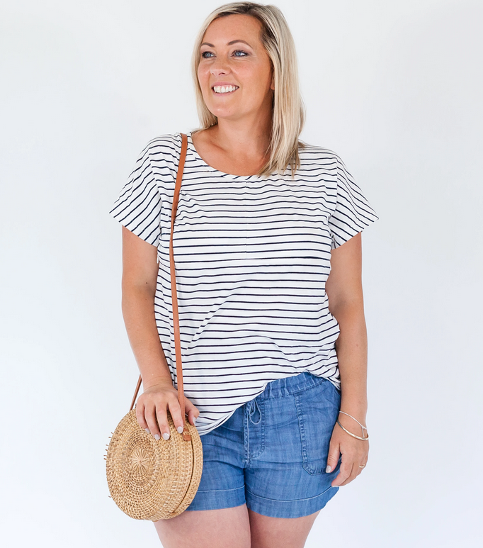Milkbar White/Navy Stripe Lana Feeding Tee