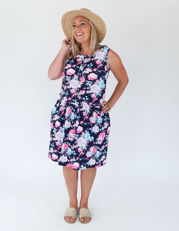 Milkbar Navy Floral Billie Feeding Dress