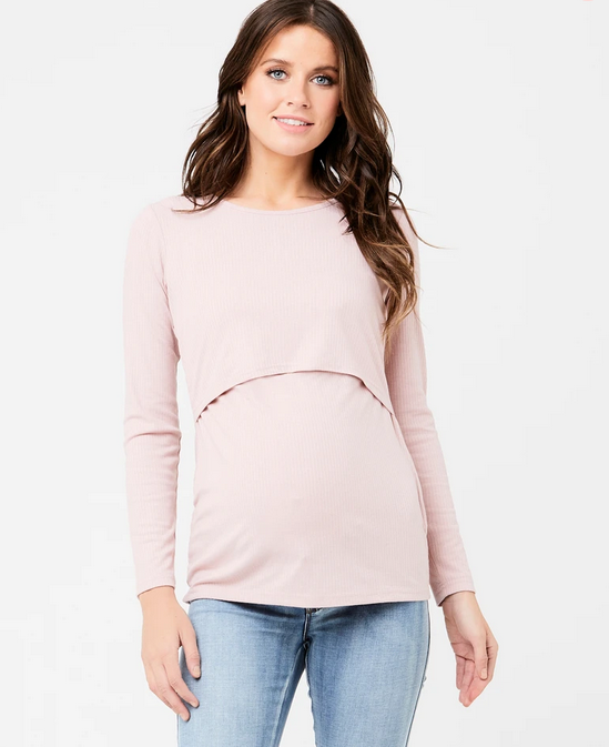 Ripe Dusty Pink Tessa Rib Nursing Top