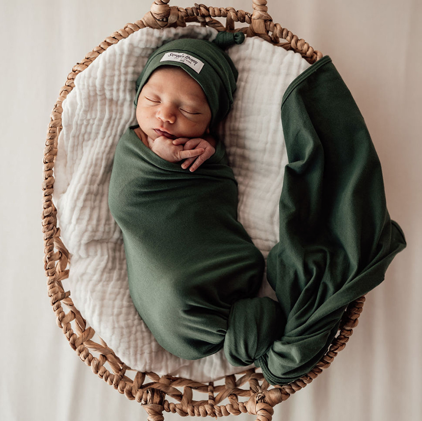 Snuggle Hunny Olive Jersey Wrap and Beanie Set