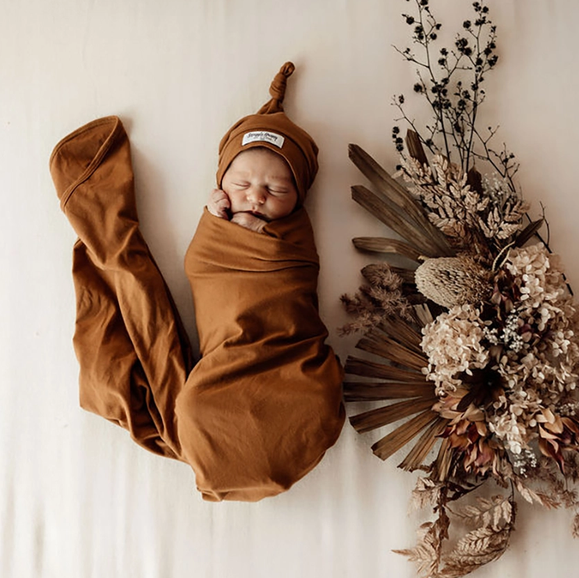 Snuggle Hunny Bronze Jersey Wrap and Beanie Set