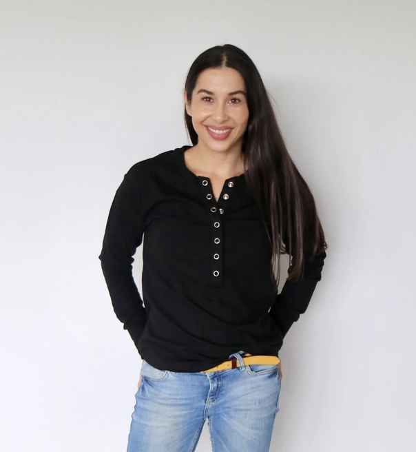 Close to the Heart Black Dome Henley Breastfeeding Top