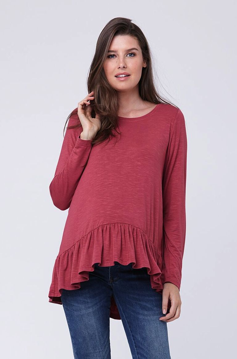 Ripe Dusty Rose Frill Hem Top