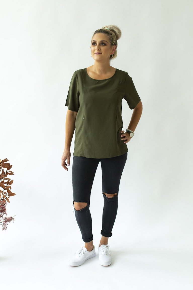 Close to the Heart Olive Boxy Breastfeeding Tee