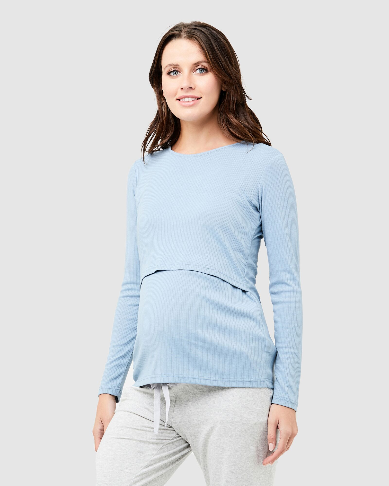 Ripe Light Petrol Tess Rib Nursing Top
