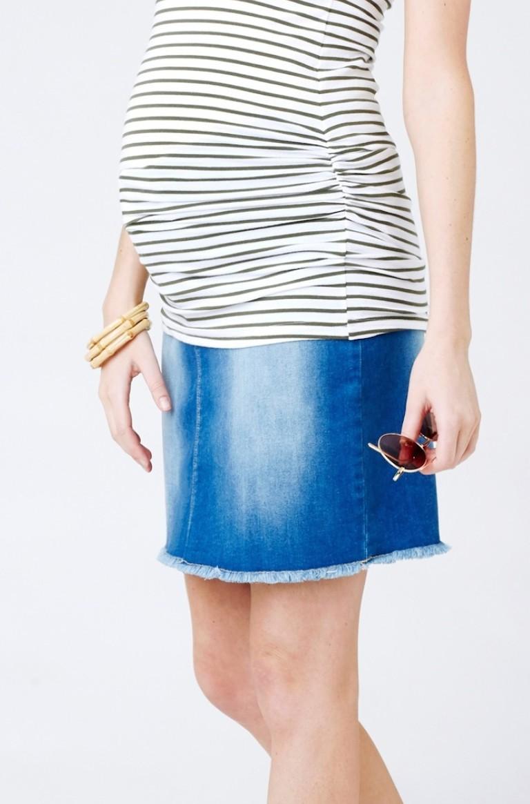 Ripe Isla Distressed Denim Mini Skirt