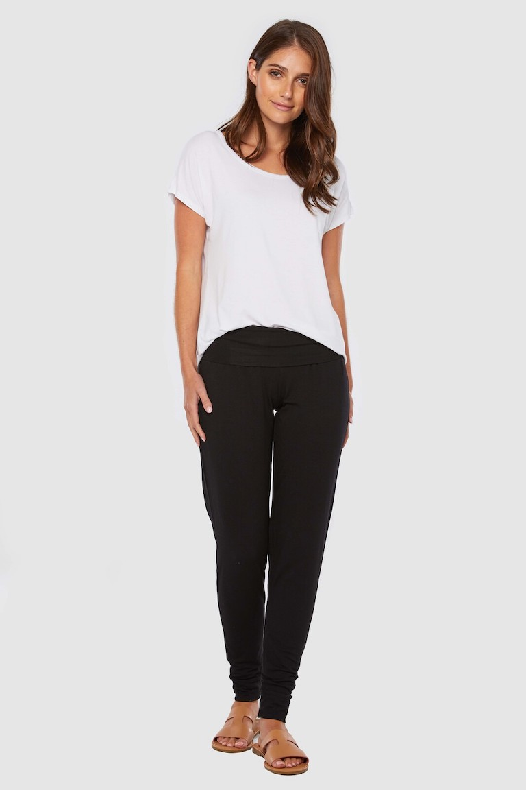 Bamboo Body Black Slouch Pants