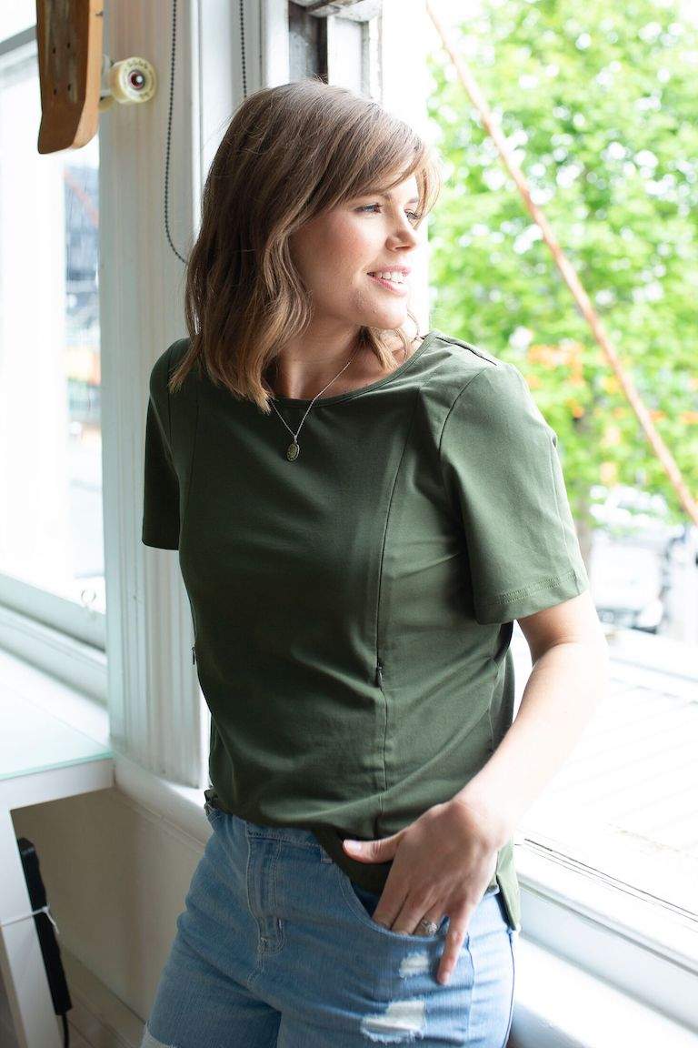 Close to the Heart Khaki Boxy Breastfeeding Tee