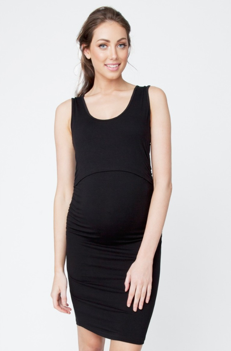 Ripe Black Sleeveless Nursing Tube Dress